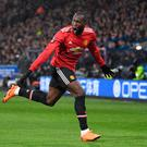 HUDDERSFIELD, ENGLAND - FEBRUARY 17: Romelu Lukaku of Manchester United celebrates scoring his side's first goal during the The Emirates FA Cup Fifth Round between Huddersfield Town v Manchester United on February 17, 2018 in Huddersfield, United Kingdom. (Photo by Gareth Copley/Getty Images)