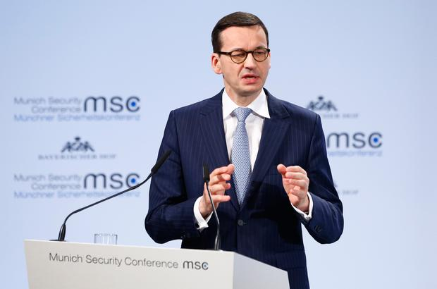 Poland's Prime Minister Mateusz Morawiecki talks at the Munich Security Conference in Munich, Germany, February 17, 2018. REUTERS/Michaela Rehle