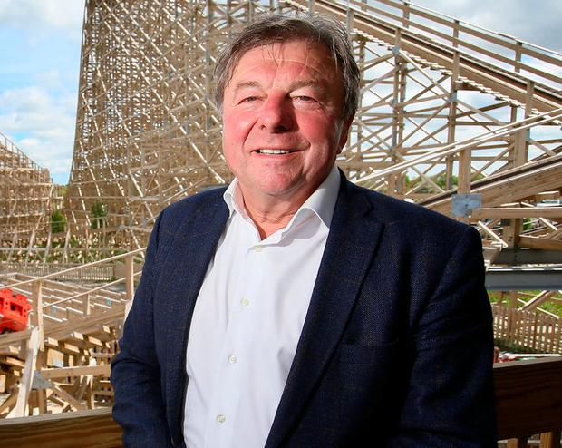 Ray Coyle in front of the Cu Chulainn roller coaster which is one of the biggest attractions in Tayto Park. Photo: Frank McGrath