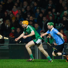 17 February 2018; Richie English of Limerick in action against Fergal Whitely of Dublin during the Allianz Hurling League Division 1B Round 3 match between Limerick and Dublin at the Gaelic Grounds in Limerick. Photo by Diarmuid Greene/Sportsfile