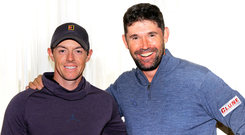 Rory McIlroy and Pádraig Harrington at Pebble Beach Photo: Eoin Clarke