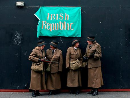 Members of the Raging Hormones local community drama group turn out for the Save Moore Street 2016 campaign two years ago, advocating national monument status for the buildings in Dublin's city centre. Photo: Niall Carson/PA Wire