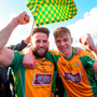 Conor Cunningham (l) and Dylan McHugh of Corofin celebrate after the AIB All-Ireland club championship semi-final. Photo: Matt Browne. Photo: Matt Browne/Sportsfile