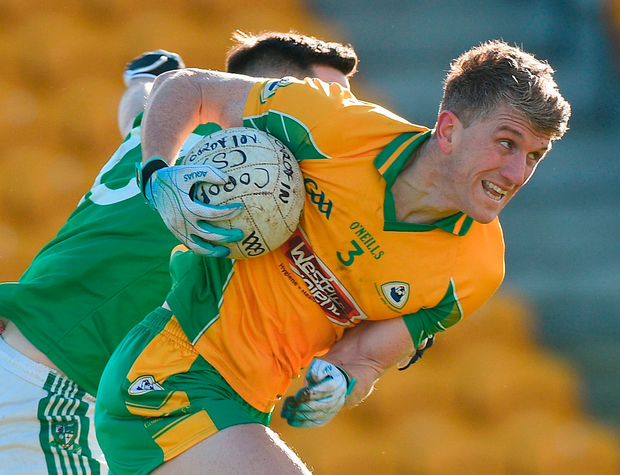 Corofin's Kieran Fitzgerald in action against Moorefield's Niall Hurley Lynch at O'Connor Park. Photo: Matt Browne/Sportsfile