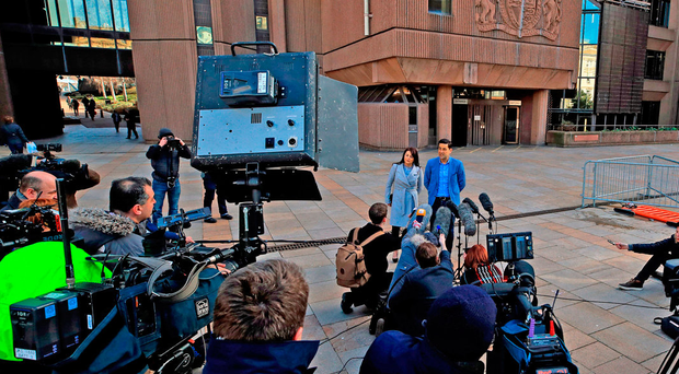 Andy Woodward, a previous victim of Barry Bennell, and his partner Zelda speak to the media outside Liverpool Crown Court. Photo: PA