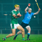 Limerick's Dan Morrissey in action against Dublin's Fionntain MacGibb during their Allianz Hurling League Division 1B Round 3 match. Photo: Diarmuid Greene/Sportsfile