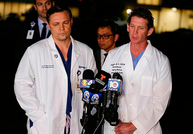 Dr. Igor Nichiporenko, Medical Director Trauma, left, and Dr. Evan Boyer, Medical Director, Emergency Services, speak about treating victims and the suspect at a press conference outside Broward Health North hospital, Wednesday, Feb. 14, 2018, in Deerfield Beach, Fla. A gunman opened fire at a nearby high school in Parkland, Fla. Photo: AP