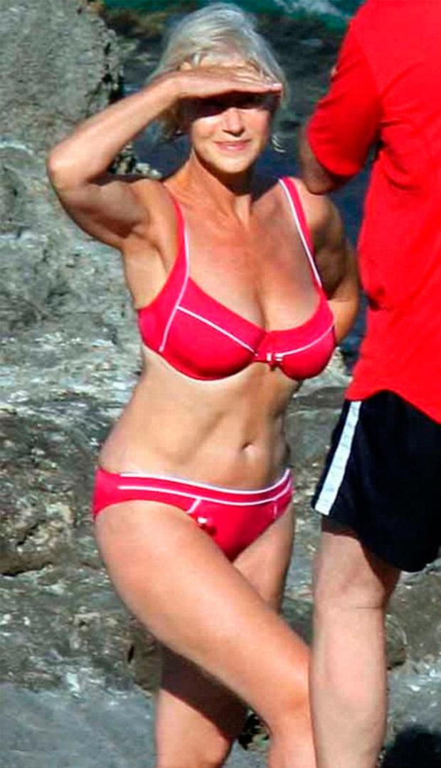 INNER HAPPINESS: Mirren became a poster girl for body confidence with this bikini shot, taken 10 years ago