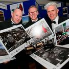 Winners: INM photographers (l-r) Steve Humphreys, Gerry Mooney and David Conachy, Photographic Editor 'Sunday Independent', with some of their work at the Press Photographer of the Year Awards, which this year also marked the 40th anniversary of the founding of the PPAI. Photo: Shane O'Neill