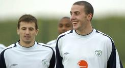 Liam Miller and John O'Shea on Ireland duty