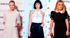 (L to R) Margot Robbie, Caitriona Balfe and Salma Hayek at the EE British Academy Film Awards (BAFTA) nominees party at Kensington Palace