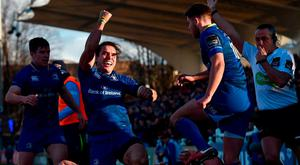 James Lowe of Leinster, centre, celebrates after scoring his side's second try during the Guinness PRO14 Round 15 match between Leinster and Scarlets at the RDS Arena in Dublin. Photo by Seb Daly/Sportsfile