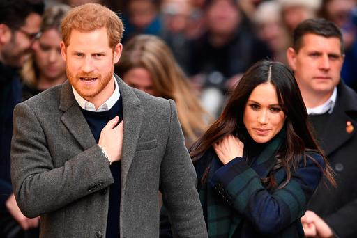 Prince Harry and Meghan Markle leave Social Bite cafe in Rose Street on February 13, 2018 in Edinburgh, Scotland. (Photo by Jeff J Mitchell/Getty Images)