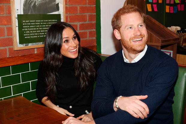 Prince Harry and Meghan Markle during their visit Social Bite on February 13, 2018 in Edinburgh, Scotland. (Photo by Owen Humphreys - WPA Pool/Getty Images)