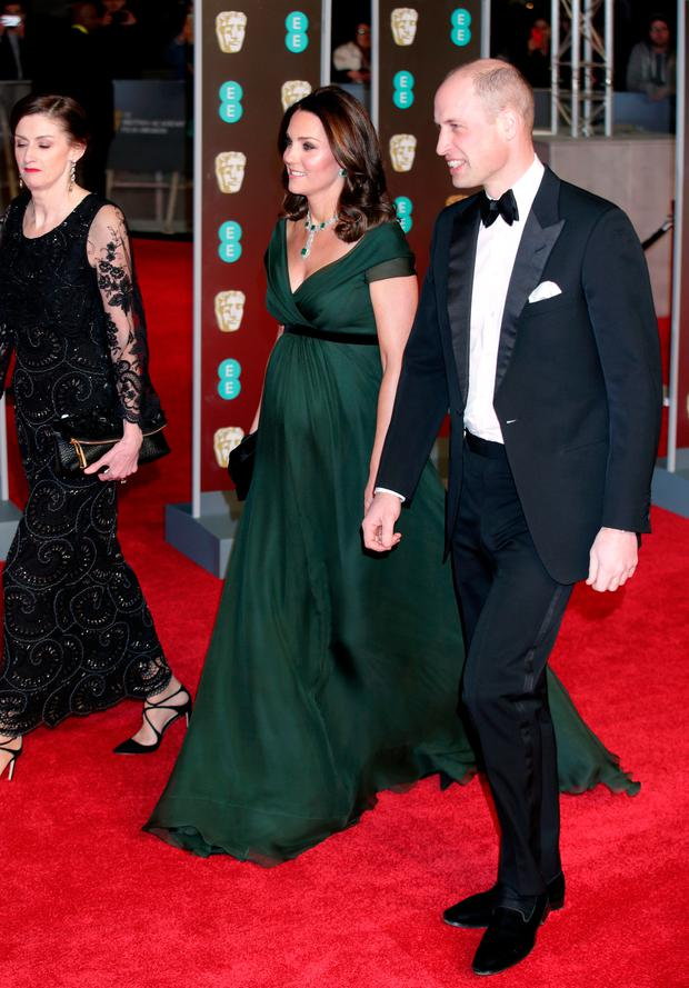 The Duke and Duchess of Cambridge attending the EE British Academy Film Awards held at the Royal Albert Hall, Kensington Gore, Kensington, London. PRESS ASSOCIATION Photo. Picture date: Sunday February 18, 2018. See PA Story SHOWBIZ Bafta. Photo credit should read: Yui Mok/PA Wire.