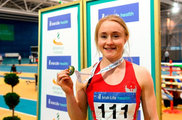 Foster smashed the Irish 60m record with a run of 7.27, which provided solace after she was left off the Northern Irish Commonwealth Games team. Photo by Sam Barnes/Sportsfile
