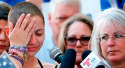 Marjory Stoneman Douglas High School student Emma Gonzalez becomes emotional during her speech at a rally for gun control at the Broward County Federal Courthouse in Fort Lauderdale, Florida. Photo: AFP/Getty Images