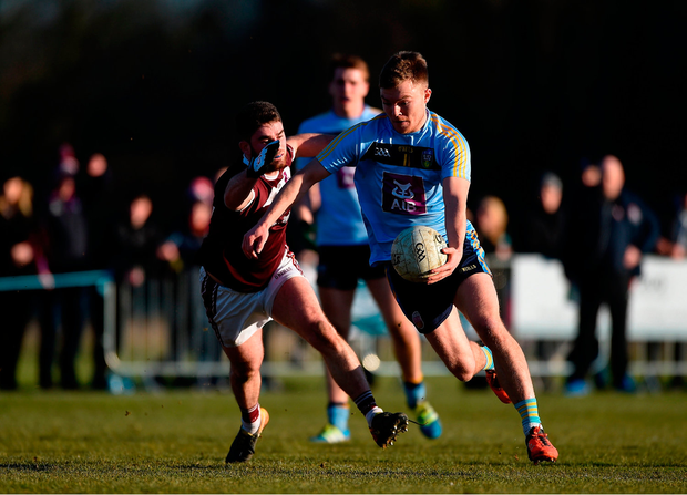 Conor McCarthy of University College Dublin in action against Ruairí Greene of NUI Galway. Photo by Daire Brennan/Sportsfile