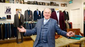 Eamon Geraghty in his menswear shop in Tuam. Photo: Andrew Downes