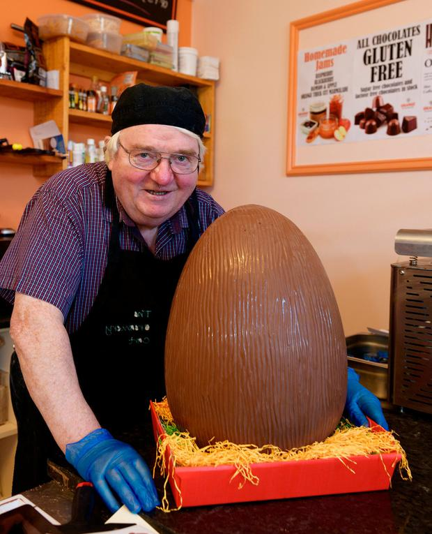 Frank Reynolds with a monster easter egg from Orange, his chocolate shop in the Co Galway town. Photo: Andrew Downes
