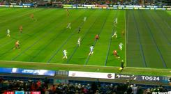 A video grab of the image shown on TV as the VAR reviewed Jan Mata's goal.