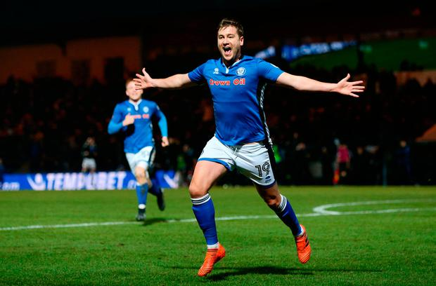 Rochdale striker Steven Davies celebrates his late equaliser against Tottenham. Photo by Nigel Roddis/Getty Images