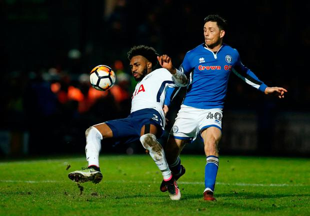 Tottenham's Danny Rose in action with Rochdale's Ian Henderson. Photo: Reuters/Andrew Yates