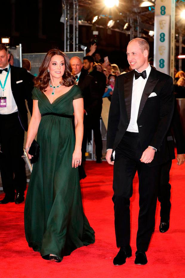 The Duke and Duchess of Cambridge attending the EE British Academy Film Awards at the Royal Albert Hall in Kensington, London. PRESS ASSOCIATION Photo. Picture date: Sunday February 18, 2018. See PA story ROYAL Bafta. Photo credit should read: Chris Jackson/PA Wire