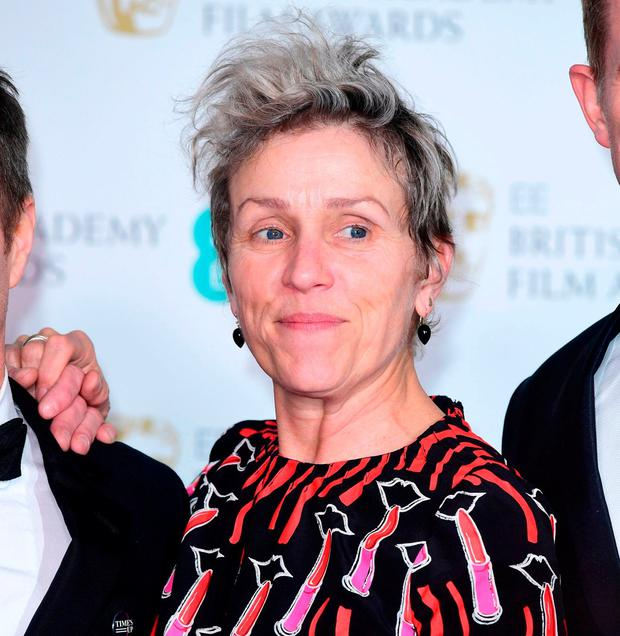 Frances McDormand in the press room at the EE British Academy Film Awards held at the Royal Albert Hall, Kensington Gore, Kensington, London. Photo: PA