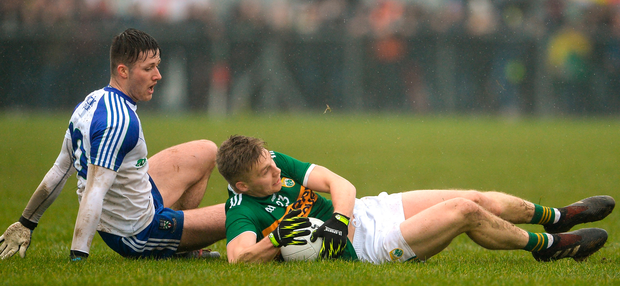 Kerry's Peter Crowley with Monaghan's Dessie Ward. Photo: Sportsfile