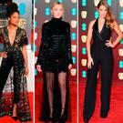 (L to R) Naomie Harris, Saoirse Ronan, Millie Mackintosh, Angelina Jolie and Jennifer Lawrence at the BAFTAs