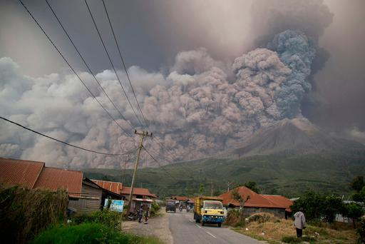 Towering Ash Clouds Fill the Sky as Indonesia's Mount Sinabung Volcano Erupts