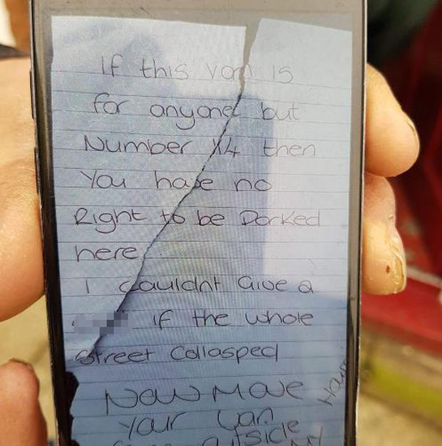 A 26-year-old has been arrested for public order offences after this note was left on an ambulance