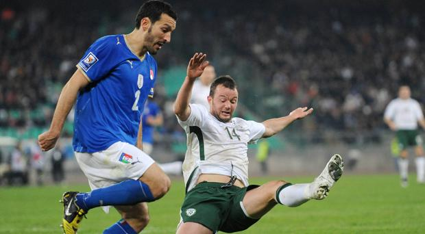 Noel Hunt in action against Italy in 2009