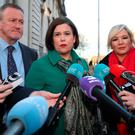 Sinn Fein's Conor Murphy, Mary Lou McDonald and Michelle O'Neill arrive at Government Buildings in Dublin for a meeting with Taoiseach Leo Varadkar. PRESS ASSOCIATION Photo. Picture date: Monday February 19, 2018. See PA story ULSTER Politics. Photo credit should read: Niall Carson /PA Wire