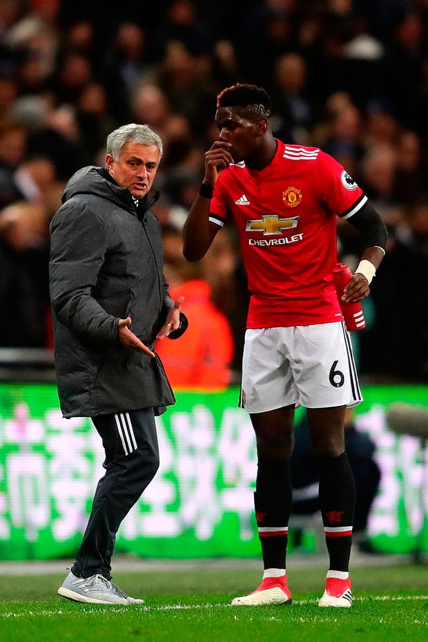 Manchester United boss Jose Mourinho and midfielder Paul Pogba. Photo: Getty
