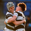 Matthew Grogan (right) celebrates with Cian Scott after scoring a try. Photo: Sportsfile