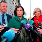 Sinn Féin's Conor Murphy, Mary Lou McDonald and Michelle O'Neill arrive at Government Buildings in Dublin for a meeting with Taoiseach Leo Varadkar. Photo: Niall Carson /PA Wire