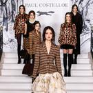 Paul Costelloe mixed shiny latex with Magee tweed for his AW18 collection at London Fashion Week. Photo: Debbie Bragg / Paul Costelloe
