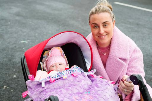 Avril O'Halloran with nine-week-old Evie from Mervue in Galway. Photo: Andrew Downes