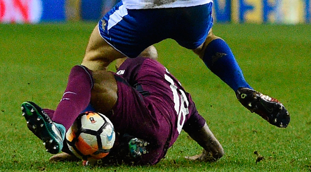 Fabian Delph fouls Max Power in the incident that led to the Manchester City defender being sent off in last night's English FA Cup fifth round tie. Photo: Getty Images