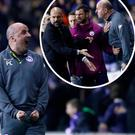 Paul Cook celebrates at full time and (inset) argues with Pep Guardiola