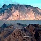 This undated combo photo released by the Center for Volcanology and Geological Hazard Mitigation (PVMBG) of Indonesian Energy and Mineral Resources Ministry shows the peak of Mount Sinabung in Karo, North Sumatra before, top, and after with a graphic line superimposed on the area of the new crater following its eruption on Monday. Volcanologists say the eruption of the volcano that shot ash 5 kilometers (3 miles) high also