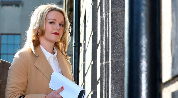 Claire Byrne pictured arriving at the Four Courts Tuesday for the continuation of a High Court action taken by Nicky Kehoe.Pic: Collins Courts