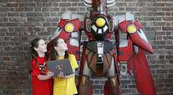 Abigail & Aisling McGowan are twins (12) who attend their local CoderDojo club at Cabinteely @ Grainstore, where they created a motion sensor bat game using the visual programming language Scratch (Conor McCabe Photography)