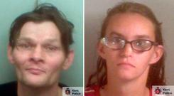 Undated Kent Police handout photos of Antony Smith and Jody Simpson, the parents of a 41-day-old baby who nearly died after being subjected to a series of