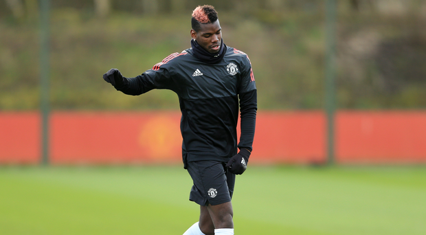 Paul Pogba all alone with his thoughts during training with Manchester United yesterday. Photo: Getty Images