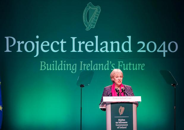 Business Minister Heather Humphreys speaking at the launch of Project Ireland 2040. Photo: Kyran O'Brien