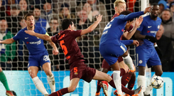 Willian curls his shot into the bottom corner to give Chelsea the lead at Stamford Bridge. Photo: Reuters