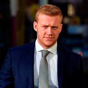 Stuart Olding arriving at Laganside Magistrates Court in Belfast yesterday. Photo: Pacemaker